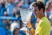 Argentina's Juan Martin Del Potro holds the trophy after defeating USA's John Isner during their men's final singles match at the Citi Open ATP tennis tournament in Washington, DC, USA, 4 Aug 2013. Del Potro won the final 3-6, 6-1, 6-2.