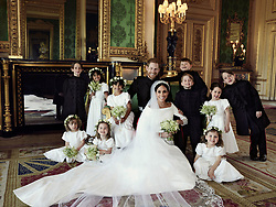 NEWS EDITORIAL USE ONLY. NO COMMERCIAL USE. NO MERCHANDISING, ADVERTISING, SOUVENIRS, MEMORABILIA or COLOURABLY SIMILAR. NOT FOR USE AFTER 31 DECEMBER 2018 WITHOUT PRIOR PERMISSION FROM KENSINGTON PALACE. NO CROPPING. Copyright in the photograph is vested in The Duke and Duchess of Sussex. Publications are asked to credit the photograph to Alexi Lubomirski. No charge should be made for the supply, release or publication of the photograph. The photograph must not be digitally enhanced, manipulated or modified in any manner or form and must include all of the individuals in the photograph when published. This official wedding photograph released by the Duke and Duchess of Sussex shows The Duke and Duchess in The Green Drawing Room, Windsor Castle, with (left-to-right): Back row: Master Brian Mulroney, Miss Remi Litt, Miss Rylan Litt, Master Jasper Dyer, Prince George, Miss Ivy Mulroney, Master John Mulroney. Front row: Miss Zalie Warren, Princess Charlotte, Miss Florence van Cutsem.
