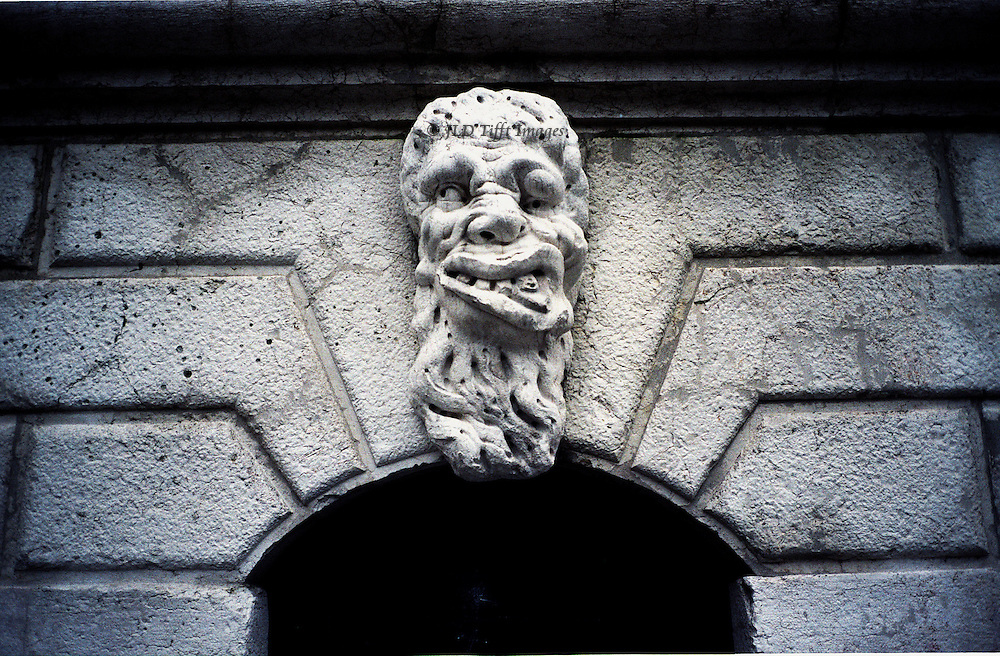 Grotesque head on base of campanile of Sta Maria Formosa, built 1688..