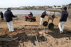 Embargoed to 0001 Monday August 28 The boundary rope is put away as the tide comes in after a match between the Ship Inn Cricket Club and the Eccentric Flamingoes Cricket Club on Sunday April 30th, 2017, in front of the pub in Elie, Fife, which is the only one in Britain to have a cricket team with a pitch on the beach. The Ship Inn Cricket Club season runs from May to September with dates of matches dependent on the tides. Any Batsman who hits a six which lands in the Ship Inn beer garden wins their height in beer and any spectator who catches a six in the beer garden also wins their height in beer.