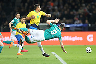 Thiago Silva (Brazil) and Sandro Wagner (Germany) during the International Friendly Game football match between Germany and Brazil on march 27, 2018 at Olympic stadium in Berlin, Germany - Photo Laurent Lairys / ProSportsImages / DPPI