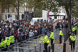 © Licensed to London News Pictures. 24/10/2020. London, UK. Anti-mask and lockdown protestors gather outside Downing Street during a United for Freedom demonstration in central London. Photo credit: Marcin Nowak/LNP
