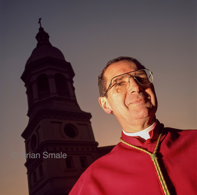 Roger Mahony, photographed in Los Angeles, CA in 1989 by Brian Smale, for the Los Angeles Times Magazine, when he was Archbishop of Los Angeles.  Mahony was elevated to Cardinal in 1991.