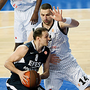 Efes Pilsen's Igor RAKOCEVIC (L) and Partizan's Rasko KATIC (R) during their Turkish Airlines Euroleague Basketball Top 16 Group G Game 6 match Efes Pilsen between Partizan at Sinan Erdem Arena in Istanbul, Turkey, Thursday, March 03, 2011. Photo by TURKPIX