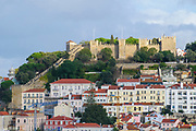 View from the Miradouro de Sao Pedro de Alcantara in the Bairro Alto, Lisbon, Portugal