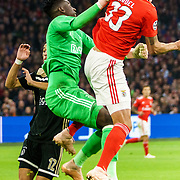 NLD/Amsterdam/20181023 - Champions Leaguewedstrijd  Ajax - SL Benfica, nr.12 Noussair Mazraoui, nr.1 Andre Onana, nr. 4 Matthijs de Ligt en nr.33 Jardel