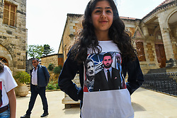 New Druze leader Taymur Jumblatt (or Taymour Joumblatt), center, seen on a young girl T-shirt, in his palace, in Moukhtara, in the Chouf Mountain, in Lebanon, on April 28, 2018, as he receives his people, a week before general elections that will take place in Lebanon on May 6. Photo par Ammar Abd Rabbo/ABACAPRESS.COM