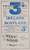 Rugby 28/02/1948 Five Nations Ireland Vs Scotland