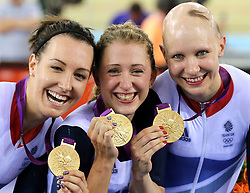 File photo dated 04-08-2012 of Great Britain's (left to right) Dani King, Laura Trott and Joanna Rowsell celebrate with their gold medals after winning the Women's Team Pursuit Final