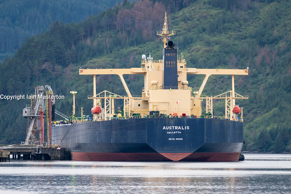 Oil tanker berthed at Finnart sea terminal operated by petroIneos on loch Long, Argyll and Bute, Scotland, UK