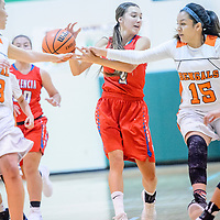 Valencia Jaguar Raquel Chavez (3), center, has a ball swiped away by Gallup Bengal Katianna Toledo (15), right,  during the Wingate Holiday Classic girls basketball tournament championship game at Wingate High School Saturday.