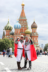 England fans Dexter Marshall and Miles Rudham (right) in Red Square before the FIFA World Cup 2018, round of 16 match between Colombia and England later tonight.