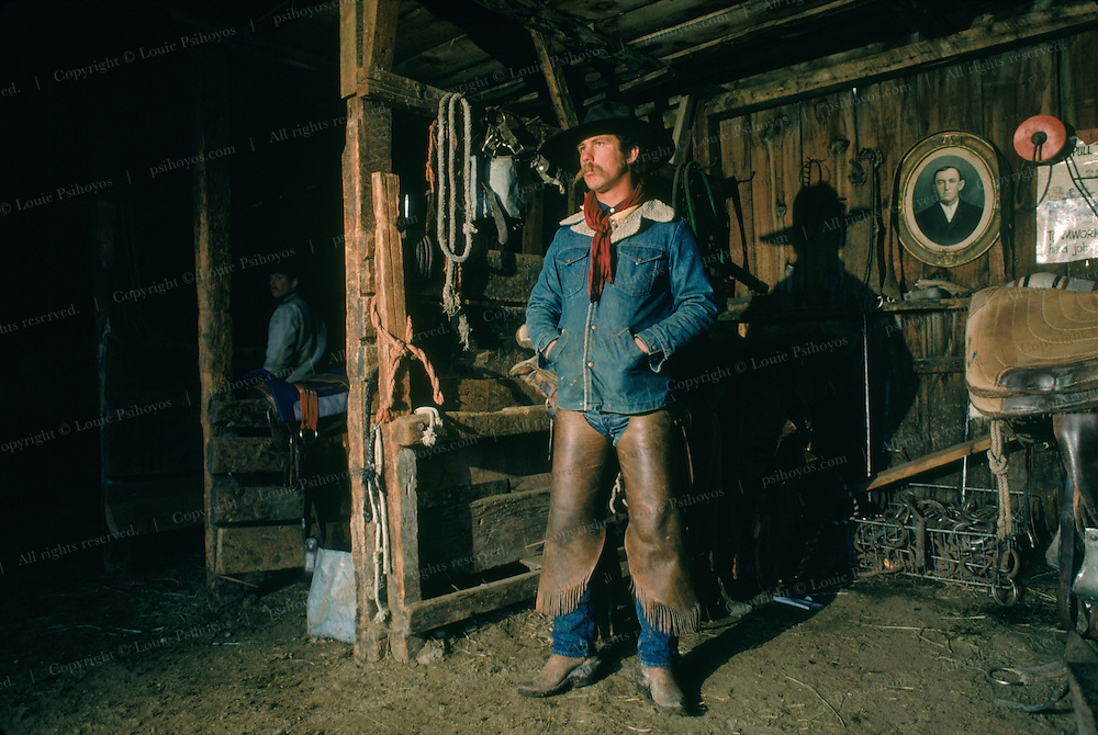 Cowboys in the stable at the Spanish Ranch in Nevada.