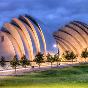 View of the north side of the Kauffman Center for the Performing Arts, Kansas City, Missouri.