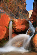 Small waterfall on Clear Creek, a side stream to the Colorado River in the interior of the Grand Canyon