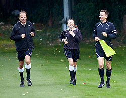 Members of press & Jeremy Hunt MP, the Secretary of State for Health (right), runs the touch line at the match. The Press v Conservatives football match, played on the second day of the Conservative Conference, Manchester, United Kingdom, Monday, 30  September 2013. Picture by i-Images