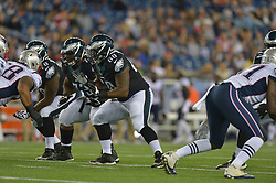Josh Andrews #68 of the Philadelphia Eagles against the New England Patriots at Gillette Stadium on August 15, 2014 in Foxborough, Massachusetts. The Patriots won 42-35.  (Photo by Drew Hallowell/Philadelphia Eagles)