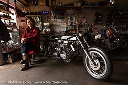 Ken Kentaro in his Hot Chop Speed Shop with his  twin-engine Harley-Davidson Sportster drag bike. Kyoto, Japan. Friday, December 7, 2018. Photography ©2018 Michael Lichter.