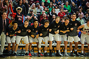 The Rutland bench watches the action on the court in the final seconds of the Vermont state division I boys basketball championship game between the Mount Mansfield Cougars and the Rutland Raiders at Patrick Gym on Saturday afternoon March 17, 2018 in Burlington. (BRIAN JENKINS/for the FREE PRESS)