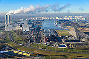 Nederland, Noord-Holland, Amsterdam, 11-12-2013; Westelijk Havengebied, Westpoort en  Australiehavenweg. Rokende schoorstenen van AEB Afval Energie Bedrijf.<br /> Amsterdam western harbor area with smoking chimneys of AEB Waste and Energy Company (Waste Fired Power Plant).<br /> luchtfoto (toeslag op standaard tarieven);<br /> aerial photo (additional fee required);<br /> copyright foto/photo Siebe Swart.