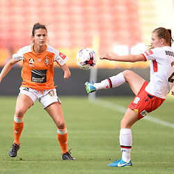 BRISBANE, AUSTRALIA - NOVEMBER 17: Carson Pickett of the Roar attempts to stop Emily Hodgson of Adelaide during the round 4 Westfield W-League match between the Brisbane Roar and Adelaide United at Suncorp Stadium on November 17, 2017 in Brisbane, Australia. (Photo by Patrick Kearney / Brisbane Roar)