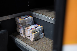 Rider cards awaiting fans on the Boels Dolmans bus at Boels Hills Classic 2016. A 131km road race from Sittard to Berg en Terblijt, Netherlands on 27th May 2016.