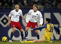 Fotball<br /> Bundesliga 2004/05<br /> Hamburger SV v Mainz<br /> 29. januar 2005<br /> Foto: Digitalsport<br /> NORWAY ONLY<br /> Sergej Barbarez, Benjamin Lauth, Mathias Abel Mainz