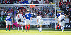 Dunfermline's Sean Murdoch saves Cowdenbeath's Greig Spence's penalty. <br /> Dunfermline 7 v 1 Cowdenbeath, SPFL Ladbrokes League Division One game played 15/8/2015 at East End Park.