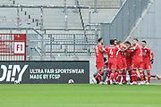 Fussball: 2. Bundesliga, FC St. Pauli - Fortuna Düsseldorf 0:3, Hamburg, 20.12.2020<br /> Jubel bei Fortuna Düsseldorf nach dem Treffer zum 1:0<br /> © Torsten Helmke