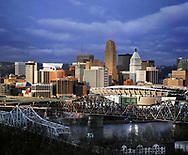 The Downtown Cincinnati Skyline As Seen From Devou Park In Covington Kentucky Just Before Sunset, Cincinnati Ohio, USA