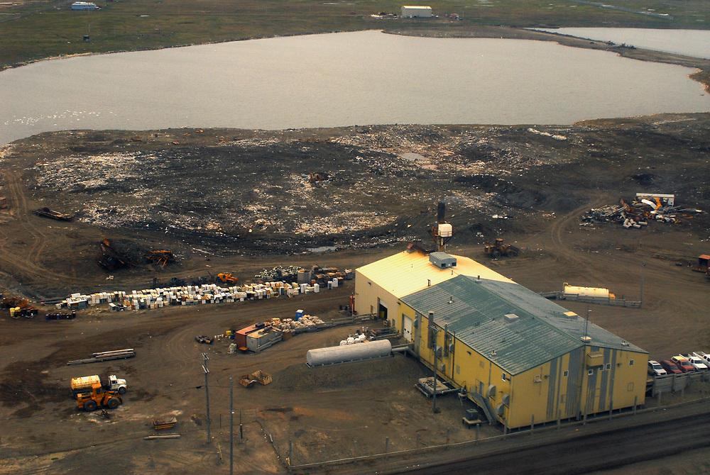 Alaska, Barrow. Aerial view ofthe landfill, the dump.   July 2007