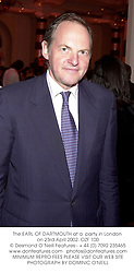 The EARL OF DARTMOUTH at a  party in London <br />on 23rd April 2002. OZF 100