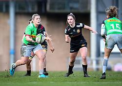 Rachael Burford of Harlequins passes the ball - Mandatory by-line: Andy Watts/JMP - 06/02/2021 - Sandy Park - Exeter, England - Exeter Chiefs Women v Harlequins Women - Allianz Premier 15s