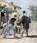After the Election'. Elected candidate ignoring working men whose vote he has bought with a couple of drinks at the local inn.  From 'Le Petit Journal', Paris, 2 September 1893. Politician, Politics, Rich, Poor, Betrayal, Voter, Bribery