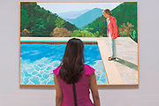 Portrait of an Artist (Pool with Two Figures) 1972 - David Hockney, a major new retrospective, at Tate Britain's. It includes more than 200 works and celebrates Hockney's achievement in painting, drawing, print, photography and video. As he approaches his 80th birthday, this exhibition offers an unprecedented overview of the artist's 60-year career. It runs from 9 Feb to 29 May 2017. London 06 Feb 2017.