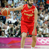 12 August 2012: Spain Juan-Carlos Navarro looks to pass the ball during 107-100 Team USA victory over Team Spain, during the men's Gold Medal Game, at the North Greenwich Arena, in London, Great Britain.