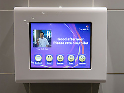 Detail of video customer satisfaction recording screen inside toilets at new Terminal 3 at Changi Airport in Singapore