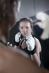 Sport training of two boxing women, Bavaria, Germany