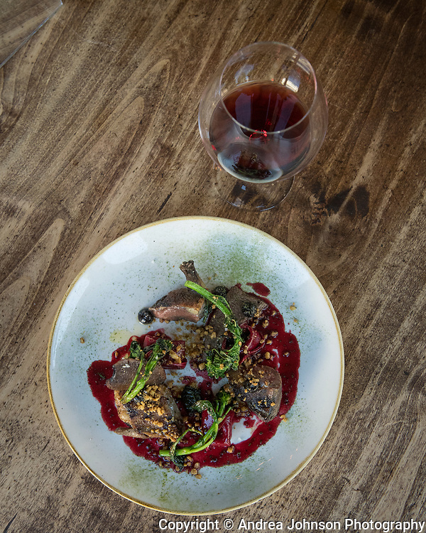 Pigeon dish with pinot noir, Le Pigeon restaurant, Portland, Oregon