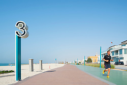 New redeveloped jogging and walking track along beach at Umm Suqueim  in Dubai United Arab Emirates