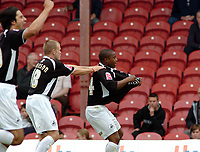 Photo: Kevin Poolman.<br /> Brentford v Swansea City. Coca Cola League 1, Play off Semi Final. 14/05/2006. Leon Knight and Andy Robinson celebrate Swansea's first goal.