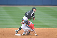 Ole Miss' Auston Bousfield (9) is forced out at second vs. Lipscomb's Noah Chandler (21) at Oxford-University Stadium in Oxford, Miss. on Sunday, March 10, 2013. Ole Miss won 9-8. The Rebels improve to 16-1.