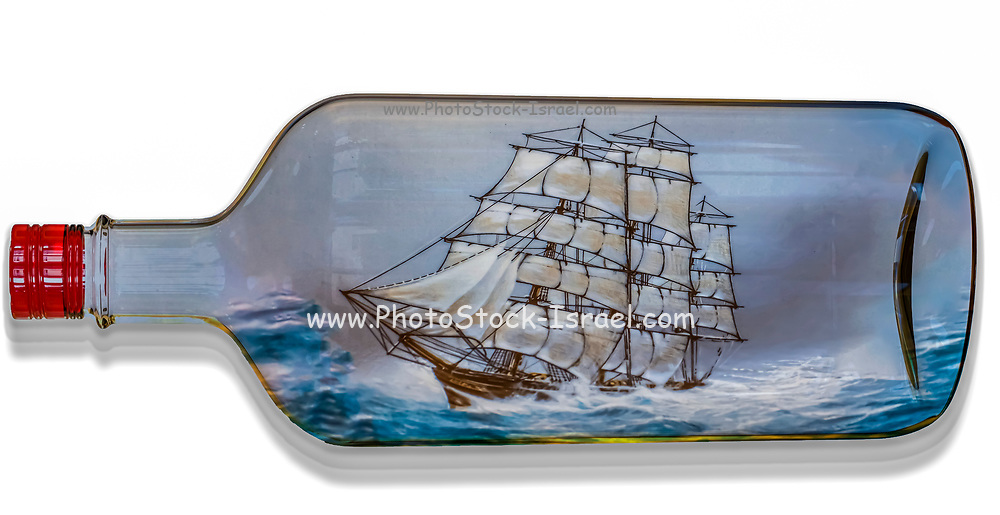 Digitally created image of a tall ship with full sail sailing in a rough sea inside a transparent bottle