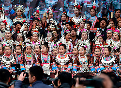 Little girls and women of Dong ethnic group sing local songs during a parade celebrating a traditional festival, which falls on the second day of the second month in the Chinese lunar calendar, in Meilin Township under Dong Autonomous County of Sanjiang, south China's Guangxi Zhuang Autonomous Region, March 10, 2016. EXPA Pictures © 2016, PhotoCredit: EXPA/ Photoshot/ Huang Xiaobang<br /> <br /> *****ATTENTION - for AUT, SLO, CRO, SRB, BIH, MAZ, SUI only*****