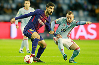 Celta de Vigo's Stanislav Lobotka (r) and FC Barcelona's Andre Gomes during Spanish Kings Cup match. January 4,2018. (ALTERPHOTOS/Acero)