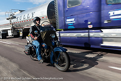 Joe Chance riding his 1928 Harley-Davidson JD in the Motorcycle Cannonball coast to coast vintage run. Stage 7 (274 miles) from Cedar Rapids to Spirit Lake, IA. Friday September 14, 2018. Photography ©2018 Michael Lichter.