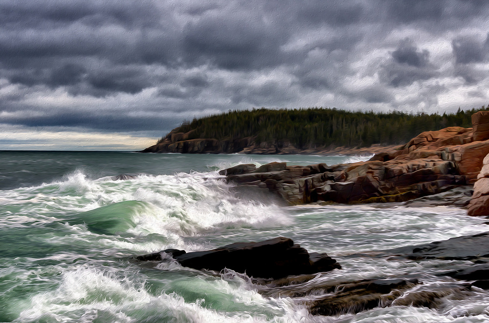 Surf breakes along the granite shores of Acadia. Dark textured clouds. The nearly black, seemingly calm horizon morphs into blue and then reveals its acqua green among the chaotic tumult as a wave breaks on an uneven rocky shore with a rush up the beach.