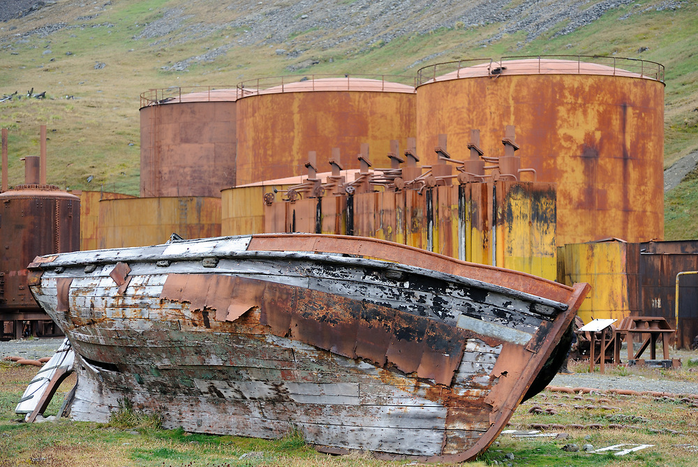 A boat rots among rusting tanks for the storage of whale and seal oil  among the ruins of the whaling station. Grytviken, South Georgia 20Feb16