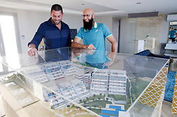 Durban 26/06/2018<br /> Zain Adams (sales Manager) and Hashim Amla looking at the Mold at the Demo House where some of the top personel have bought apartment houses near Sibaya Casino Durban.