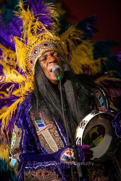 """Big Chief Monk Boudreaux performs at the Hemingbough Blues Festival in St. Francisville, La. To help preserve the Louisiana's coast, joined """"Voice of the Wetlands,"""" an organization promoting awareness of wetlands preservation."""